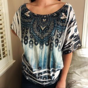 4 LEFT S-XL Stretchy Silver Blue Stud Blouse Top